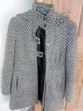 NEXT PETITE BLACK AND WHITE COAT WITH HOOD SIZE 12