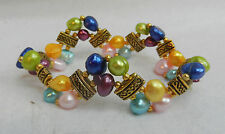 Multi Coloured Japanese Cultured Pearl Bracelet