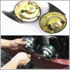 2 x Black Loud Dual-tone Snail Electric Horn 110 dB Universal 12V Car Truck USA