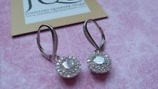 925 Sterling Silver CZ Halo Solitaire 30mm drop Earrings - Boxed - Free Post