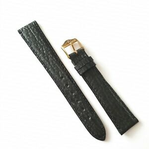 GENUINE  ROTARY WATER RESISTANT 18MM BLACK SHARK SKIN STYLE LEATHER WATCH STRAP
