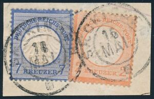 D.Reich Nr. 8 + 10 auf Briefstück SAECKINGEN 16 MAI, geprüft Seeger BPP (66921)