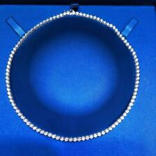 Platinum Sterling Silver White Sapphire Round Cut Halo Bride Tennis Necklace 16""