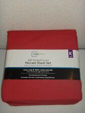 Mainstays 200 Thread Count 4-Pc King K Percale Sheet Set Garnet Rose 100% Cotton
