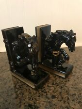 Vintage Mid-Century Horse Pen Holder Bookend Marked Japan Black/gold Accent