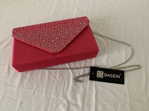 Dasein Brand New Women's Fushia Jeweled Handbag Clutch