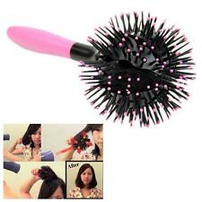 3D Bomb Curl Brush - Styling Salon Round Hair Curling Curler Comb Tool PINK LY=