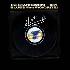 Ed STANIOWSKI SIGNED 50th St. Louis BLUES PUCK NEW ITEM Sharp L@@K Monster WOW!!