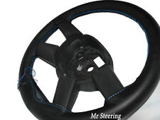 FOR MERCEDES SPRINTER MK1 BLACK LEATHER STEERING WHEEL COVER SKY BLUE STITCHING