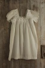 Antique French baby christening gown dress Ayrshire work 19th century