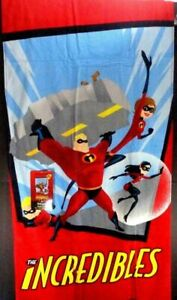 "Disney Pixar Incredibles 2 Beach Bath Pool Towel 28"" x 58"" NEW 100% Soft Cotton"