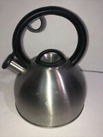 Copco Tea Pot Teapot Kettle Stainless Steel Whistling Silver w/ Black