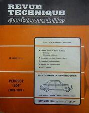 Revue technique PEUGEOT 204 (1966/1969) RTA 271 1968 berline break cabrio coupé