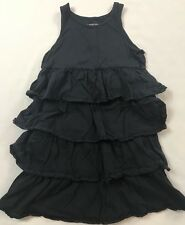 Lands End Kids Size 7 Years Navy Blue Ruffle Tiered Sleeveless Cotton Dress