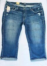 Silver Suki Capri Jeans Womens Plus Size 26 Perfectly Curvy Mid Rise Distressed