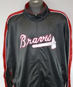 NEW Mens Majestic Atlanta Braves Big & Tall Grey 3M Full Zip Track Jacket
