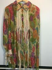 Roamans 18W Long Blouse Ribbon Floral Sheer Plus size