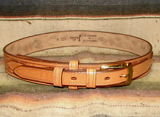 Vintage Justin Sheridan Hand Tooled Brown Leather Western Ranger Belt 28 New