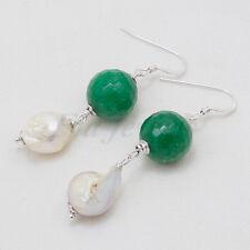 Orecchini radice di smeraldo perle barocche arg 925 Gioielli Artigianali Pietre