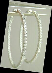 """inside outside Sterling CZ High End Earrings Fine Cut Stones big sparkle 2"""" Hoop"""