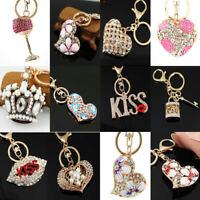 Heart Key chians Purse Bag Rhinestone Keyrings Keychain charm Pendant Gifts