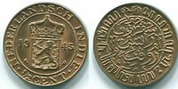 1945 NETHERLANDS EAST INDIES (Indonesia) 1/2 CENT Bronze Colonial Coin #S13102D