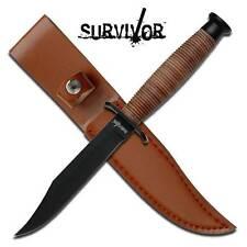 "SURVIVOR 9.5"" Long Fixed Blade Rescue Knife w/ Leather Handle & sheath HK-754"