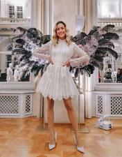 GIAMBATTISTA VALLI x H&M SHORT LACE CREAM PARTY DRESS HOLIDAYS UK 12 EUR 40 US 8