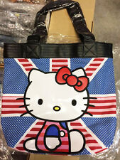 New LOUNGEFLY Sanrio HELLO KITTY Canvas Tote Bag Purse Handbag UK FLAG FACE