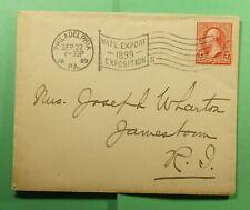 DR WHO 1899 PHILADELPHIA PA EXPO FLAG SLOGAN CANCEL TO JAMESTOWN RI  f52526