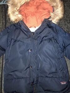 2-3 Toddler Boy Navy Blue Coat Zara Down (Infant)