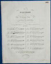 OPÉRA PIANO PARTITION PIQUILLO HIPPOLYTE MONPOU ALEXANDRE DUMAS 1837 CHOLLET