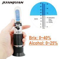 Alcohol Refractometer Beer Wine Grape Honey Sugar Test Meter 0-40% Brix 0-25%