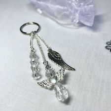 New Guardian Angel Charm Keyring ~ Silver / White ~ Stocking Filler Gift Idea