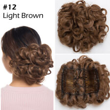 Real Soft Thick Chignon Updo 100% Real Ponytail Bun Clip in Hair Extension Piece