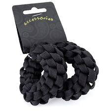 2 pieza fuerte cuerda torcida pelo elásticos Grueso Broche Negro