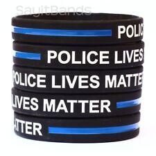 5 Police Lives Matter Wristbands. Thin Blue Line Law Enforcement Awareness Bands