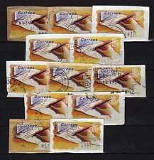 España (spain): lote 12 atm mano escribiendo carta 1995 diferentes valores