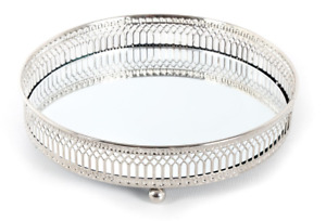 Mirror Glass Metal Antique Decorative Silver Candle Plate Display Tray #CH5762
