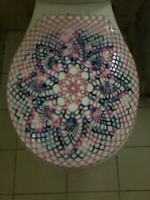 Handmade Crochet Round Toilet Lid/Seat Cover Pink/Blue #3