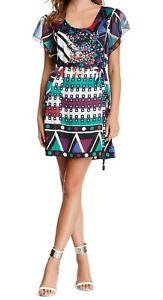 Custo Barcelona Dress Women Irma Diagonal Silk Beaded Geometric Tunic Mod 1960s