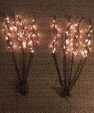 Eight pre-lit brown faux Willow branch sticks for decoration  FREE SHIPPING