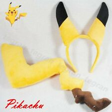 AU Pokemon Pikachu Yellow Tail and Ears Style Hair Clasp Anime Cosplay Costume