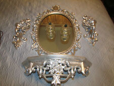 6PC Vintage Syroco 1965 Hollywood Regency floral  Oval Mirror  ornate 26''x 18