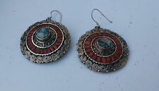 Ethnic Tibetan Drop Earring inlaid with crushed coral, turquoise