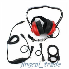 Red Heavy-duty Noise-reduction Headset KENWOOD PUXING WOUXUN with MiNi DIN plug
