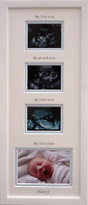 Personalised Baby Boy 1st/2nd/3rd scan and 1st Photo Triple Picture Frame