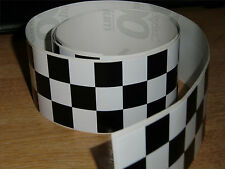 Negro + Blanco Checker Cinta - 4 Pies X 2 In - 3 Plazas / Chequer Stripe