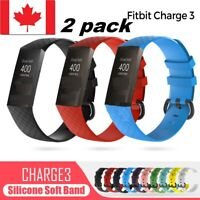 2 SIZE Replacement Watch Band Silicone Bracelet Wrist Strap For Fitbit Charge 3