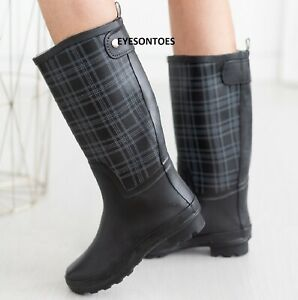 LADIES WOMENS WELLIES BLACK CHECKED FESTIVAL RAIN WATERPROOF WELLINGTON BOOTS